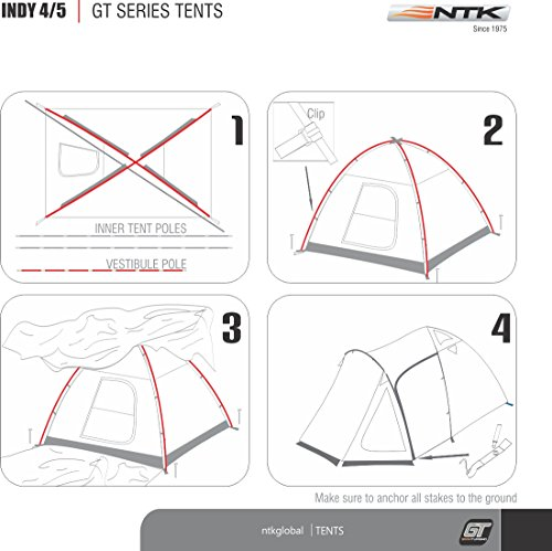 NTK INDY GT 4 to 5 Person 12.2 by 8 Foot Outdoor Dome Family Camping Tent 100% Waterproof 2500mm, European Design, Easy Assembly, Durable Fabric Full Coverage Rainfly - Micro Mosquito Mesh. by NTK (Image #4)