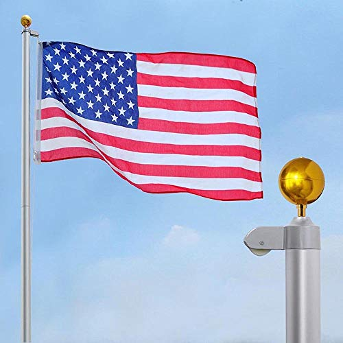 LeeMas Inc 6-Section 30' Aluminum Sectional Flagpole Flag Pole Set 15 Gauge 1.5mm Thickness w/ 3'x5' American US Flag and Ball Top - Mm Thickness Set 1.5