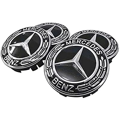 4 Pieces 75mm Black Center Wheel Hub Caps for Mercedes-Benz,Applicable to All Models: Automotive
