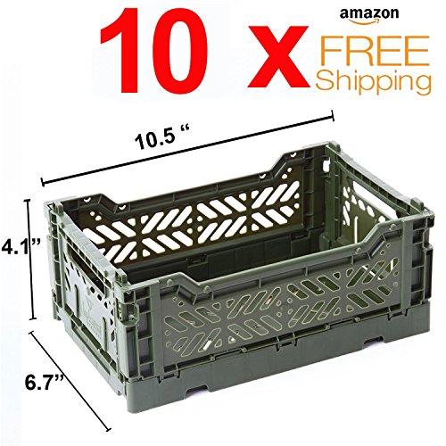 (10 x AY-KASA Collapsible Storage Bin Container Basket Tote , Folding Basket CRATE Container : Storage , Kitchen , Houseware Utility Basket Tote Crate Mini-BOX (KHAKI) )