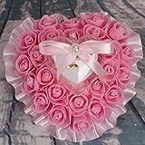 bgblgf M Wedding Ring Pillow Cushion Bride Rose Marry Ring Pillow, Pink, 1716cm