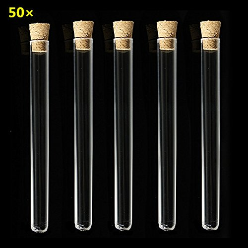 CynKen 50pcs 150 x 15 mm Transparent PP Test Tubes With Cork Stopper Cordial Bath