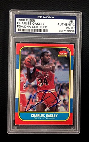 Charles Oakley Signed 1986 Fleer Chicago Bulls Card #81 Authenticated - PSA/DNA - Coin Oakley