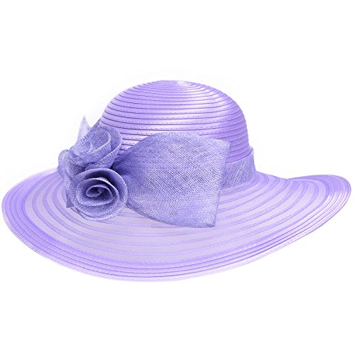 Lawliet Women Solid Color Sinamay Wide Brim Sun Hat Dress Flower Bow A435 (Purple) Purple Satin Hat