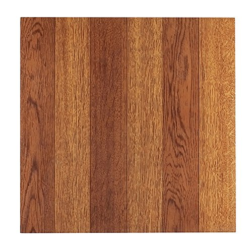 - Self-Adhesive Faux Medium Oak Hardwood Vinyl Floor Tile with No-Wax Finish, Peel-and-Stick Installation