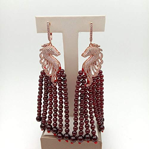 Natural Round Red Garnet Yellow Pave Sea Horse Earrings