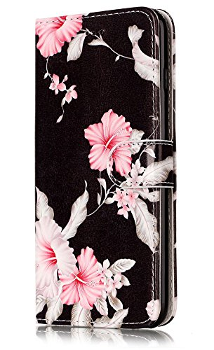 JanCalm for iPhone 6S Wallet Case,iPhone 6S Case,6S Case,iPhone 6 Case,Pattern Premium PU Leather [Card/Cash Slots] Stand Flip Cover for iPhone 6/6S (4.7 inch) + Crystal Pen (Black/Flower) (Iphone 6 Case Book)
