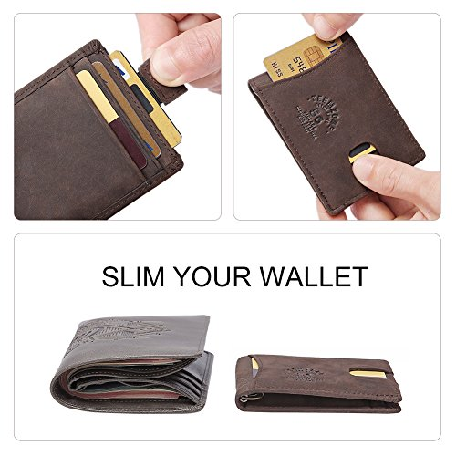Wallet Money Fibre TEEMZOME Case Ultra Clip Thin Men's Magnet BLOCKING Brown Strong Distressed Wallet Slim Hunter Card Dark Carbon Holder Leather Real Wallet Brown Credit Clip With RFID xqn48SZqY