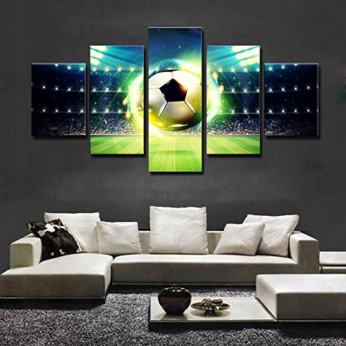 Soccer Oil Painting - Canvas Painting Framework Art Poster Wall Art 5 Panel Soccer Modern Modular Picture Oil Painting Home Decoration Prints On Canvas For Living Room Framed