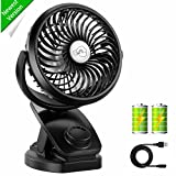 Appliances : Rechargeable Battery Operated Clip on USB Desk Fan, COMLIFE 4400mAh Battery/USB Powered Fan Mini Portable Personal Fan for Baby Stroller, Car, Gym, Office, Outdoor, Travel, Camping