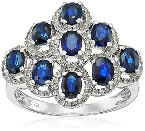 Sterling Silver Thai Blue Sapphire and White Topaz Ring, ...