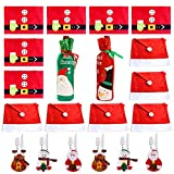 Christmas Dinner Table Party Decorations Kit (with 6xSanta Claus Red Hat Chair Back Cover + 6xPlacemats + 6xSilverware Holder Pockets + 2xWine Bottle Bags), Family Xmas Party Decor Gift (Set 2)
