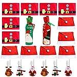 COSORO Decorazioni Natalizie da Tavola da Pranzo di Pranzo di Natale Set(6 xSanta Hat Pranzo coprisedie,6 x Placemat di Natale,6 x Natale Stoviglie Borsa,2 x Borse per Bottiglie di Vino) (Kit-02)