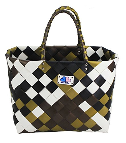 Clearance Christmas Sale Mike & Mary Washable Grocery Shopping Baskets Travel Bags Reusable Tote Bag Eco-friendly Woven Handbags (earth)