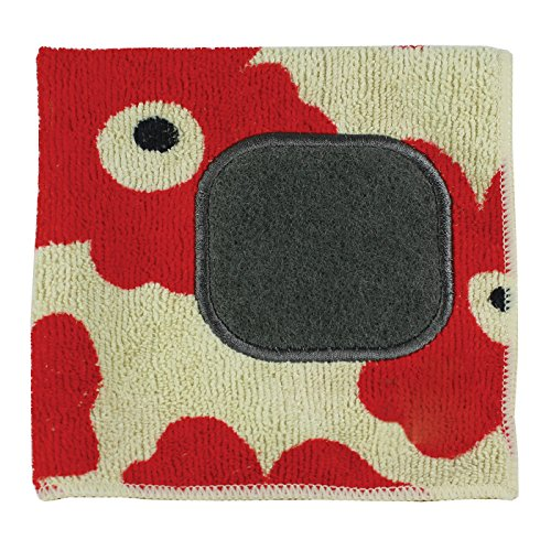 MUkitchen Microfiber Dishcloth With Built-In Scrubber, 12 by 12-Inches, Red Poppy