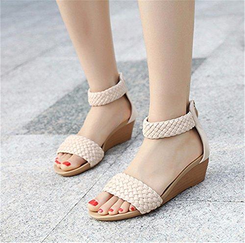 YMFIE Zapatos de Playa al Aire Libre cómodos del Verano de Las Sandalias de la cuña de la Punta Abierta del Deslizamiento cómodo de la Manera C