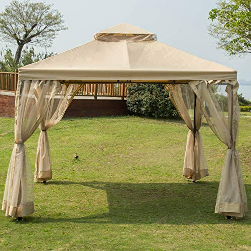 (Sunnyglade 10' x10' Gazebo Canopy Soft Top Outdoor Patio Gazebo Tent Garden Canopy for Your Yard, Patio, Garden, Outdoor or Party)