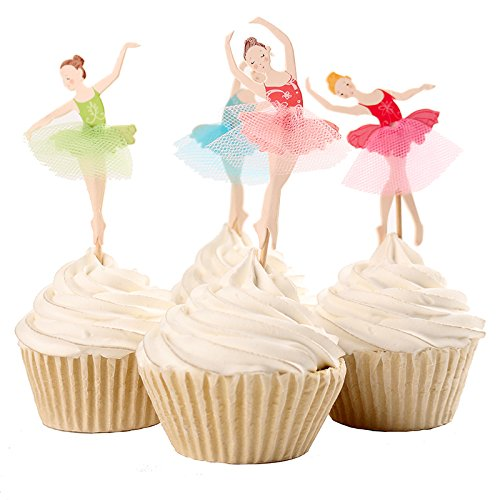 iMagitek 24 Pcs Cute Ballet Dancer Girls Fairy Peri Dessert Muffin Cupcake Toppers for Girl's Birthday Party, Baby Girls 1st Birthday, Baby Shower and Wedding]()