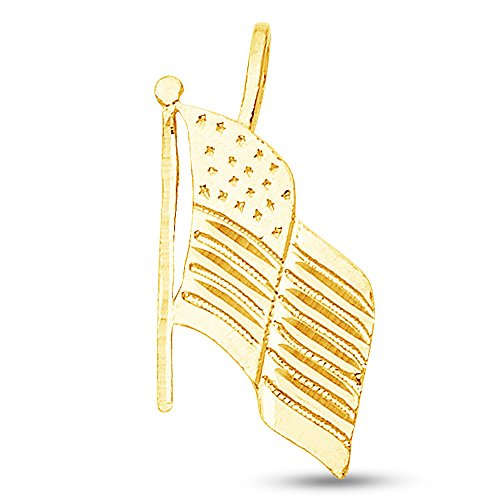 Sonia Jewels 14K Yellow Gold Diamond-Cut Ornate USA Flag Pendant Charm (21x12 mm)