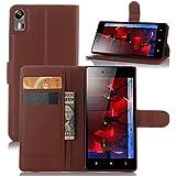 Taslar(TM) Leather Wallet Magnetic Clip Stand Flip Back Cover Case For Lenovo Vibe Shot (Black)