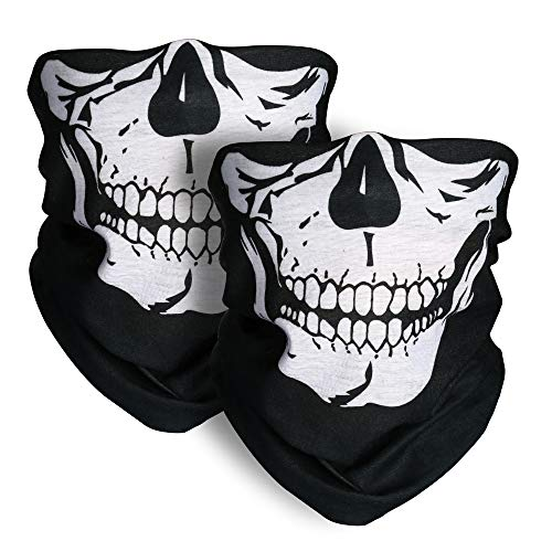 Motorcycle Face Masks 2 Pieces Xpassion Skull Mask Half Face for Out Riding Motorcycle Black  Price: $7.99