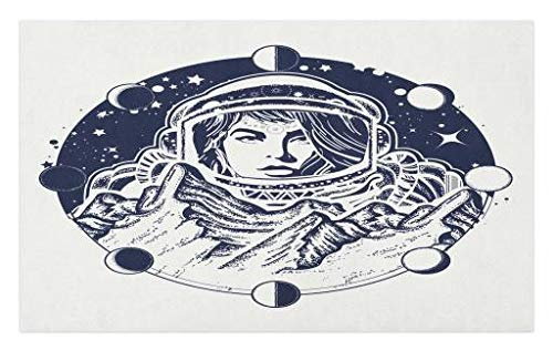 Lunarable Moon Phases Doormat, Woman Astronaut Tattoo Art Exploring Mountains on Mars Boho Hipster Design, Decorative Polyester Floor Mat with Non-Skid Backing, 30