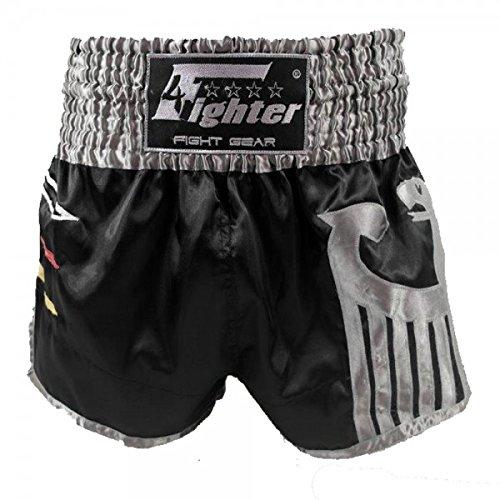4Fighter Muay Thai Shorts National Deutschland in coolem, schwarzen WM Trikot-Design XS-XXXL