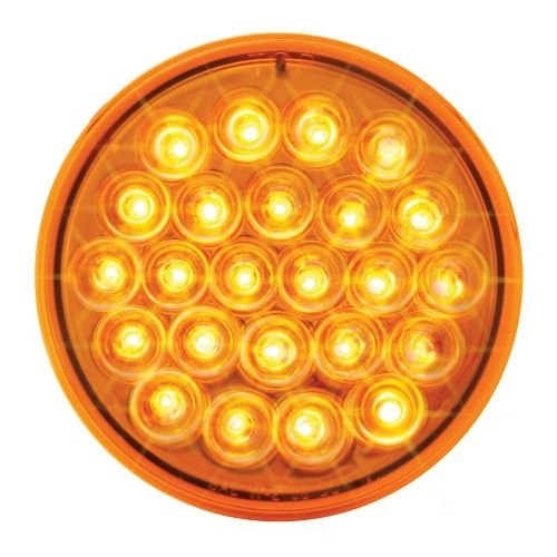 GG Grand General 76495 4 Inch Pearl Amber Led Strobe Light with Clear Rim & Pigtail