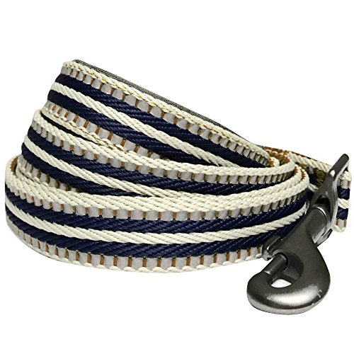 Blueberry Leather - Blueberry Pet 8 Colors 3M Reflective Multi-Colored Stripe Dog Leash with Soft & Comfortable Handle, 5 ft x 3/4
