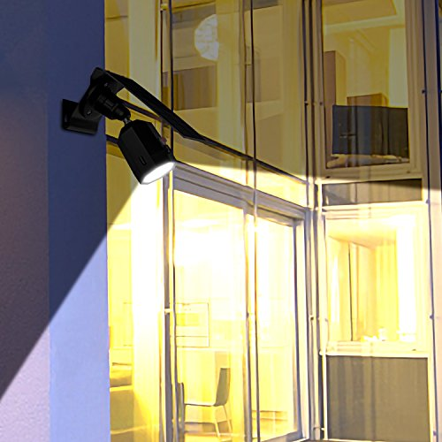 MoRgen Solar Motion Sensor Lights Outdoor 5W Wireless Aluminum LED Flood Security Light, 3 Modes,360 Degree 10 LED Solar Spotlight-1400 Lumens for for Yard Porch Patio Garage Driveway-Black by MoRgen (Image #5)