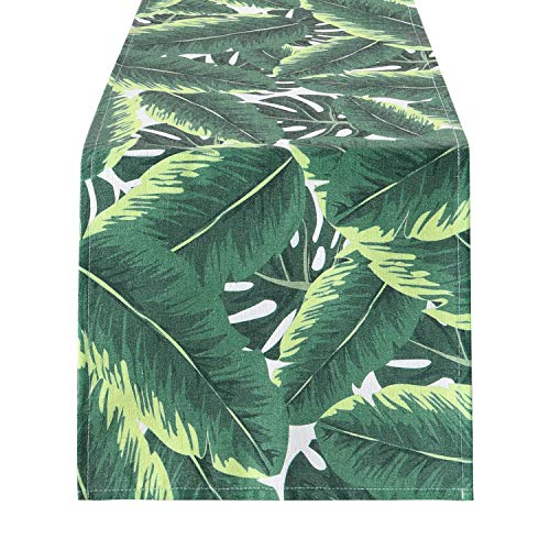 Leaves Runner - Banana Leaf Table Runner Palm Leaf Table Runner Tropical Leaf Green Leaves Table Runner for Catering Events, Dinner Parties, Wedding, Summer Parties, Indoor and Outdoor Parties, 12