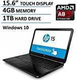 "HP Business 15-Inch Touchscreen Laptop (Quad Core AMD A8-7410 up to 2.5 GHz, 4GB RAM, 1TB HDD, 15.6"" HD TouchScreen, AMD Radeon R5, SuperMulti DVD, HDMI, Wifi, HD Webcam, USB 3.0-Win10)"