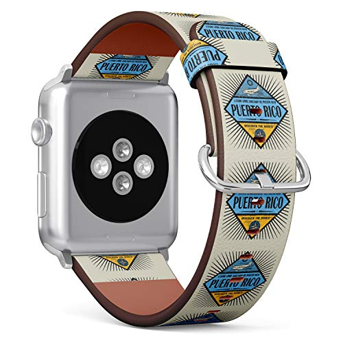 S-Type iWatch Leather Strap Printing Wristbands for Apple Watch 4/3/2/1 Sport Series (42mm) - Stamp or Vintage Emblem with Airplane, Compass and Text Puerto Rico
