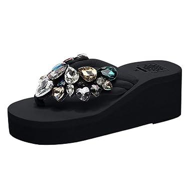3cee4e9de7c5 GONKOMA Women s Wedges Crystal Flip Flops Sandals Slippers Summer Casual  Beach Shoes Black