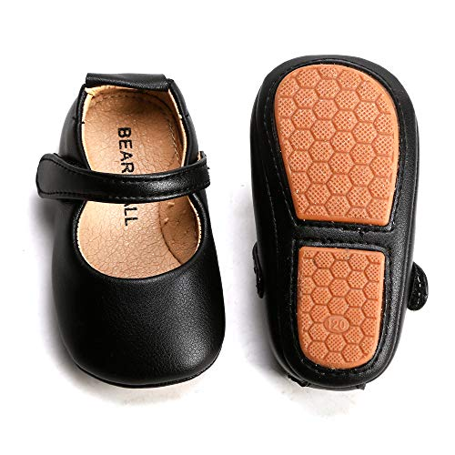 Bear Mall Baby Girl Shoes Soft Sole Toddler Ballet Flats Baby Walking Shoes (13cm (12-18Months), 8525 Black)]()