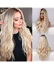 Esmee 26 Inches Long Blonde Wigs for Women Natural Synthetic Hair Ombre Blonde Wig with Dark Roots Synthetic Wig Loose Wavy Wigs Heat Resistant
