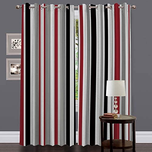 Blackout Grommet Curtains for Living Room Red White Grey and Black Vertical Stripes Home Decor Treatment Thermal Darkening Drapes Window Curtains for Bedroom 2 Panels, 52 x 84 Inch Each Panel