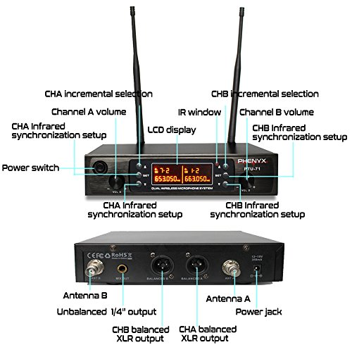 Phenyx Pro Dual UHF Wireless Microphone System, Metal Receiver and Handheld Mics, 80 Channels, Up to 250ft Professional Operation, 16 Hours Use, Ideal For Church, Karaoke Party(PTU-71) by Phenyx Pro (Image #3)