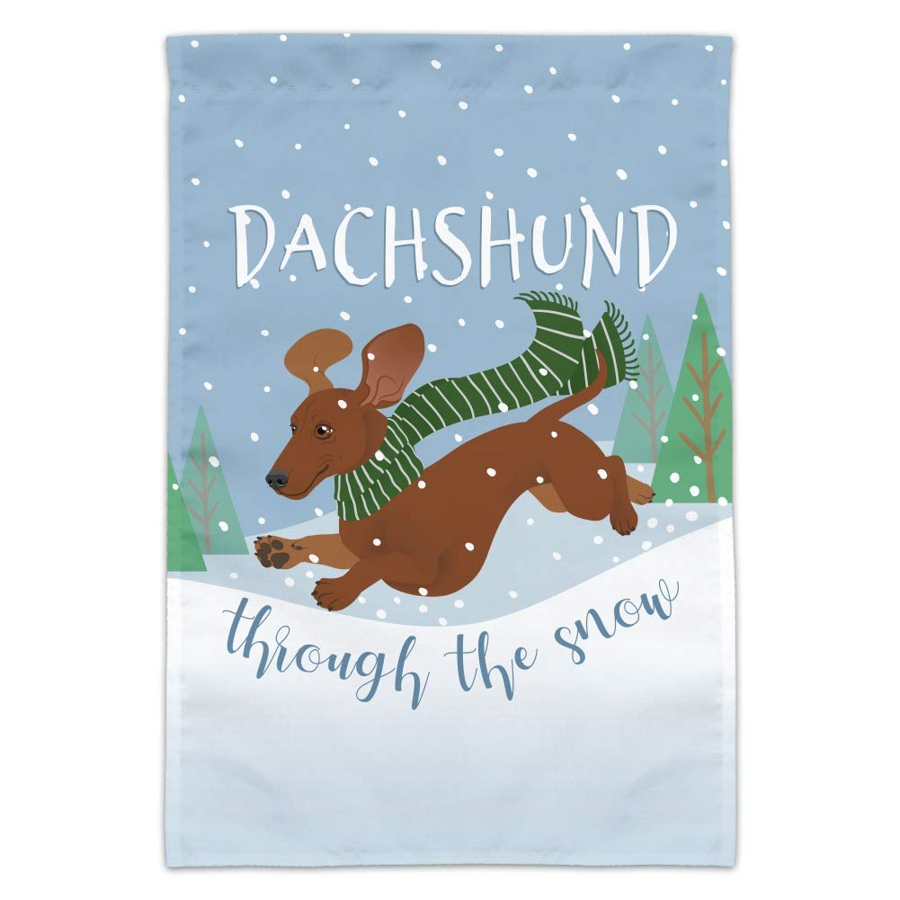GRAPHICS & MORE Dachshund Dashing Through The Snow Winter Christmas Garden Yard Flag (Pole Not Included)