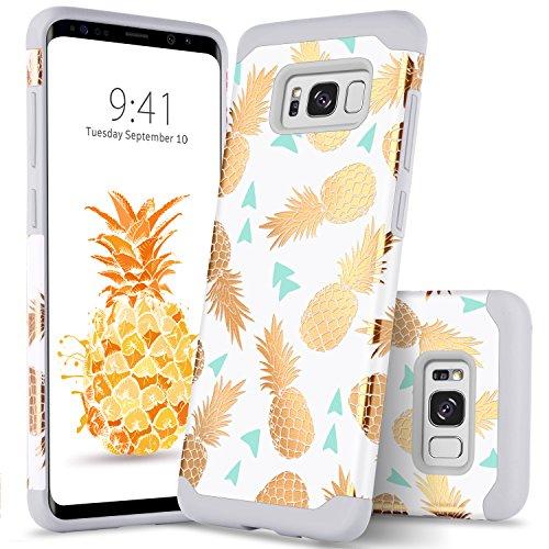 Galaxy S8 Plus Case Samsung S8 Plus Case Gold Pineapple GUAGUA Slim Hybrid Hard PC Soft Silicone Cover Anti-Scratch Girls Women Shockproof Protective Phone Case for Samsung Galaxy S8 Plus,White