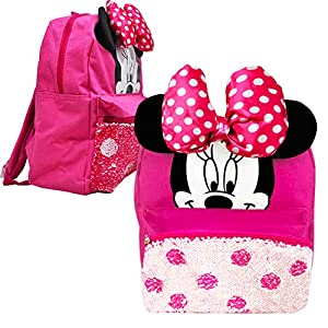 Disney Minnie Mouse Mini Preschool Backpack for Toddler Girls (12″) (Minnie Mouse School Supplies Bundle)