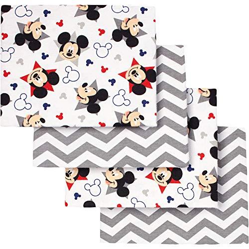 Disney Mickey Mouse Let's Go II Flannel Receiving Blankets, 4pk ()