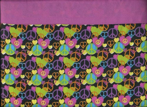 (Peace and Love 3 Piece Twin Sheet Set Pink Cookie Sheets Hearts Peace Signs)