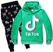 Unisex Kids TIK-TOK Casual Hoodies Set Sweatshirt+Sweatpants 2PC Set Tracksuit for Boys Girls Sport Outfit