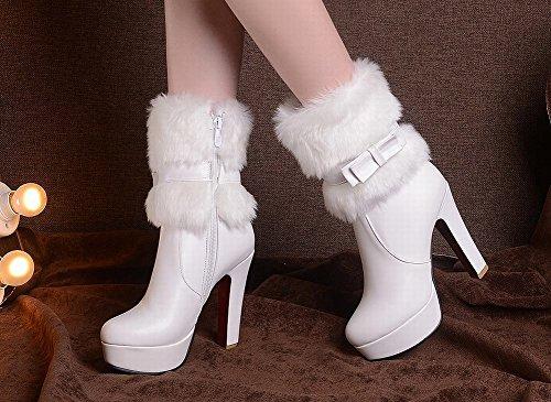Mee Shoes Damen süß high heels Plateau Stiefel Weiß