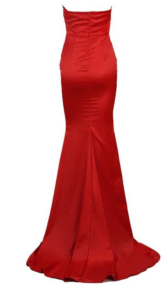 Missord Women's Bra Strapless Prom Maxi Dress Medium Red by Miss ord (Image #6)