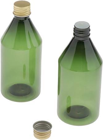 CUTICATE 2X 300ml Vacía Botella de Plástico Recipiente Cosmético Estuche de Crema Frasco de Loción Tarro para Hogar/Oficina/Viaje/Vacaciones - Verde + Dorado: Amazon.es: Hogar