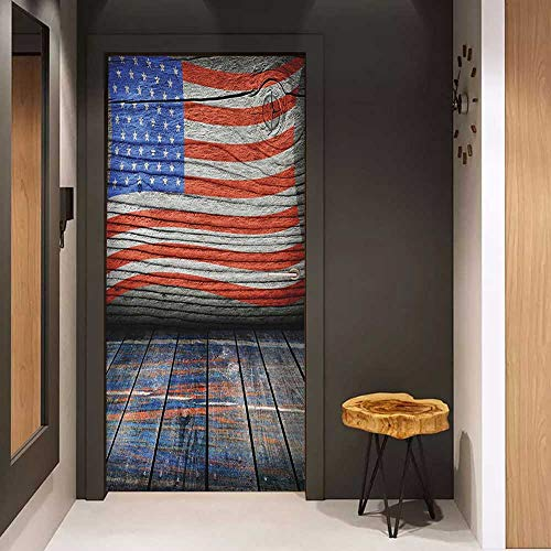 Onefzc Self-Adhesive Wall Murals USA Fourth of July Independence Day Wooden Rustic Floor Log View Wall Rippled Image Sticker Removable Door Decal W38.5 x H77 Blue Red Umber