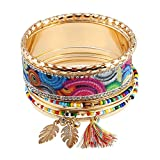 Product review for YAZILIND Boho Vintage Ethnic Colorful Feather Thread Tassel Rhinestone Beaded Pattern Cuff Bangle Women Gold Plated Stackable Bracelet