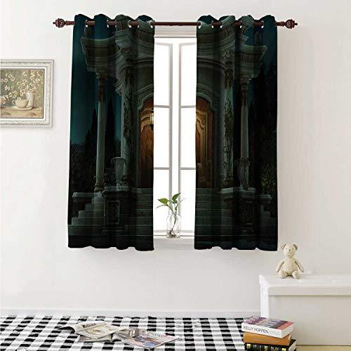 - shenglv Gothic Waterproof Window Curtain Roman Pavilion Lantern Ivy Pillars Dome Medieval Architecture Mystic Theme Curtains for Party Decoration W84 x L72 Inch Petrol Blue Orange